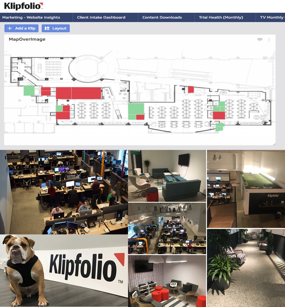 Klipfolio's Office Floor Plan integrated into our dashboard solution showing which rooms are booked and which ones are available in real-time!