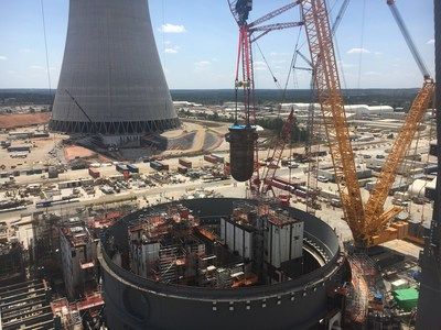 The reactor vessel for Unit 4 is placed at the Vogtle nuclear expansion near Waynesboro, Georgia.