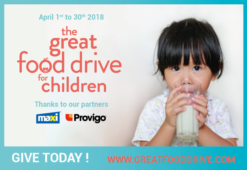 2018 the Great Food Drive for Children campaign (CNW Group/MOISSON MONTREAL)