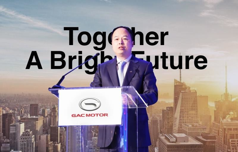 Yu Jun, presidente de GAC Motor, en la exposición de la NADA 2018 (PRNewsfoto/GAC Motor)