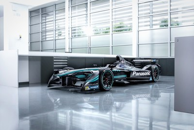 Racing to open the 2018 New York International Automobile Show: Panasonic Jaguar Formula E race car.