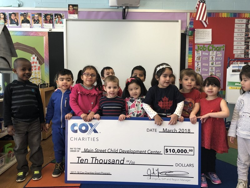Students at Main Street Child Development Center in Fairfax, Virginia celebrate their $10,000 Cox Charities grant. Main Street Child Development Center is one of 15 nonprofits in Virginia that received a 2018 Cox Charities grant.