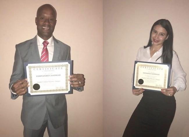 Caption Fernando Castillo and Viviana Castillo hold their Certificate Medical Revenue Association of America.