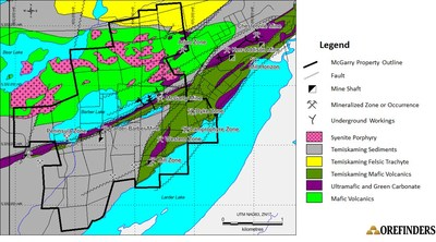 Geology and Mineralized Zones on McGarry Property - Figure 2 (CNW Group/Orefinders Resources Inc.)