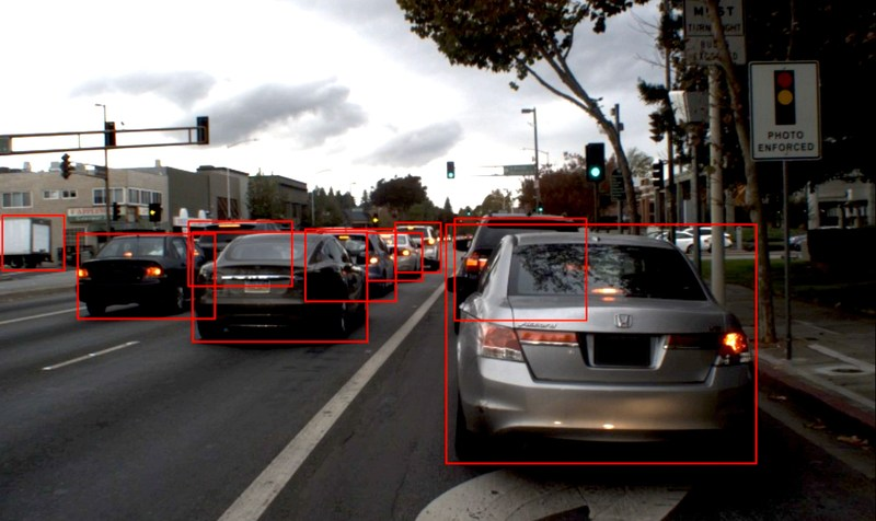 DeepScale's deep neural network software detects vehicles, pedestrians and objects of significance for automated driving, using low-power automotive-grade chips.
