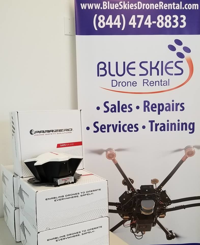 Blue Skies Drone Rental, LLC and ParaZero Ltd. announce strategic partnership for US based distribution of ParaZero SafeAir parachute systems.