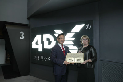 4DX 500th Theatre Opening Ceremorny: (Left)Byung-Hwan Choi, CEO of CJ 4DPLEX, (Right) Martine Odillard, Chairman of Les Cinémas Gaumont Pathé