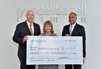 Bob Patel presents United Way of Greater Houston with LyondellBasell's 2017 campaign donation of $1.36 million. (L-R: LyondellBasell EVP of Global Manufacturing, Projects, Refining and Technology and United Way of Greater Houston Board Member Dan Coombs; United Way of Greater Houston President and CEO, Anna M. Babin; and LyondellBasell CEO Bob Patel)