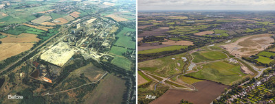 Before and after photos showing the restoration of heavily polluted industrial land at the former Avenue Coking Works near Chesterfield in the East Midlands, U.K. Jacobs Engineering Group Inc., and client Homes England, celebrate the completed restoration of the heavily polluted industrial land - a 19-year remediation program that has transformed 98 hectares into a place that can now be used and enjoyed by the community and wildlife. Images courtesy of Homes England.