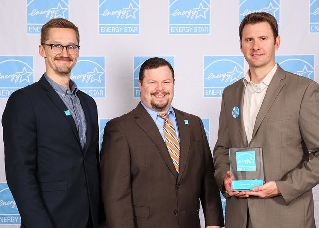 2017 ENERGY STAR Award Ceremony. From left to right: Bill Hoelzer (Digital Marketing Manager, GreenSavers), Ely Jacobson (Program Manager, Home Performance with ENERGY STAR), and Robert Hamerly (Principal, GreenSavers)