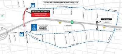Fermeture chemin Glen/rue De Courcelle (Groupe CNW/Ministère des Transports, de la Mobilité durable et de l'Électrification des transports)