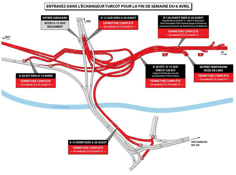Entraves dans l'échangeur Turcot pour la fin de semaine du 6 avril (Groupe CNW/Ministère des Transports, de la Mobilité durable et de l'Électrification des transports)