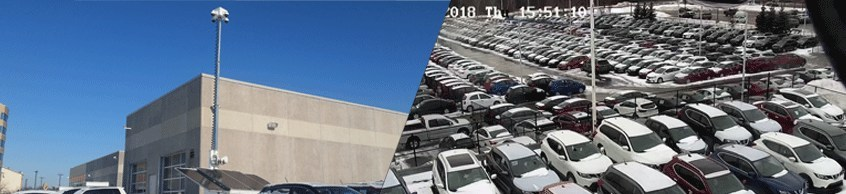 Hikvision security cameras provided solar-powered video surveillance during a building renovation for Ajax Hyundai car dealership in Ontario, Canada.