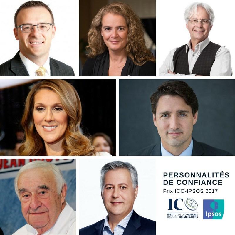Lauréats des prix de la confiance ICO-IPSOS 2017 (Groupe CNW/Institut de la confiance dans les organisations)