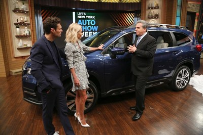 "Car and Driver's Alan Taylor (right) showcases the 2019 Subaru Ascent with  ""Live with Kelly and Ryan"" hosts Ryan Seacrest and Kelly Ripa.   Photo credit:  Pawel Kaminski, Disney/ABC Home Entertainment and TV Distribution"