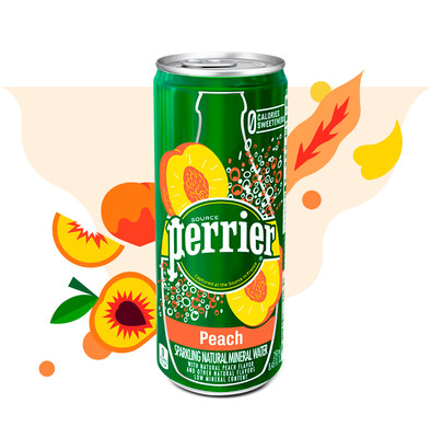 On April 5, 2018, Perrier® Carbonated Mineral Water introduces a new product to its expanding selection of flavored carbonated mineral waters: Perrier® Peach.