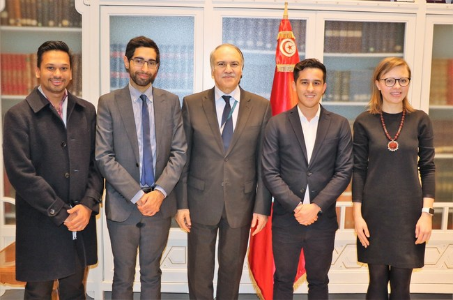 Devery Team meeting with the Tunisian Minister of Education, Hatem Ben Salem and Maria Lukyanova (UN World Food Programme).