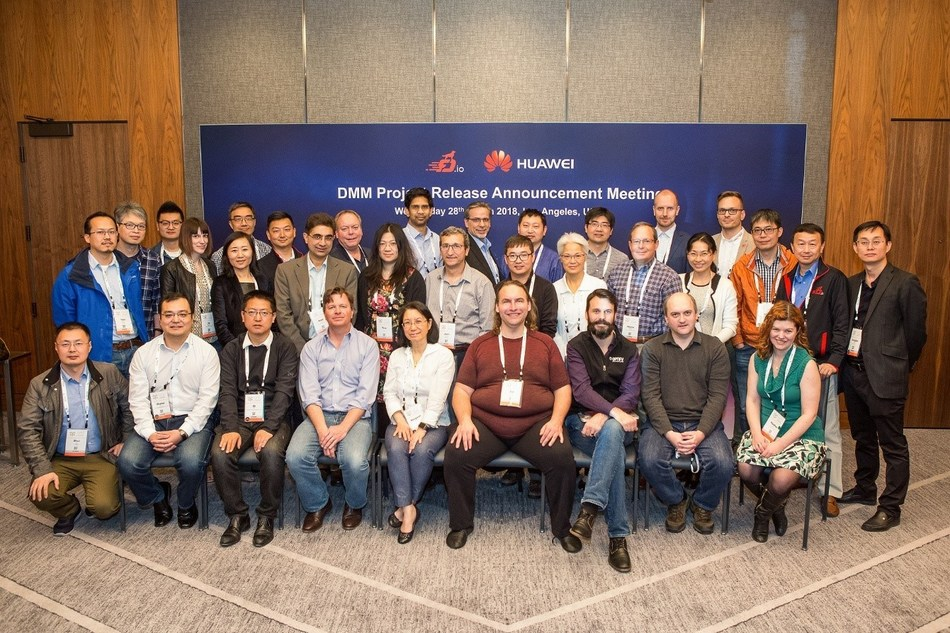 Linux Foundation and FD.io (https://fd.io) community representatives participated in the DMM project release announcement meeting at the Open Networking Summit North America in Los Angeles. (PRNewsfoto/Huawei)