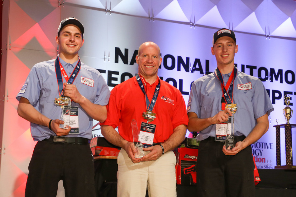 America's Top Technicians: High school students Evan Sennefelder (left) and Andrew Stuart with their instructor Mark Watson of Wallenpaupack Area High School, Hawley Pennsylvania.