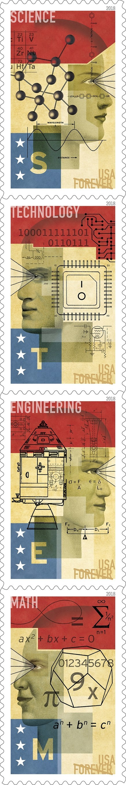 Designs of the STEM Education Forever stamps issued today by the Postal Service.