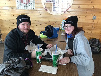Warrior Chris and his wife Taryn take a lunch break at the lodge's cafe after hitting the Beaver Mountain, Utah ski slopes with Wounded Warrior Project® (WWP).
