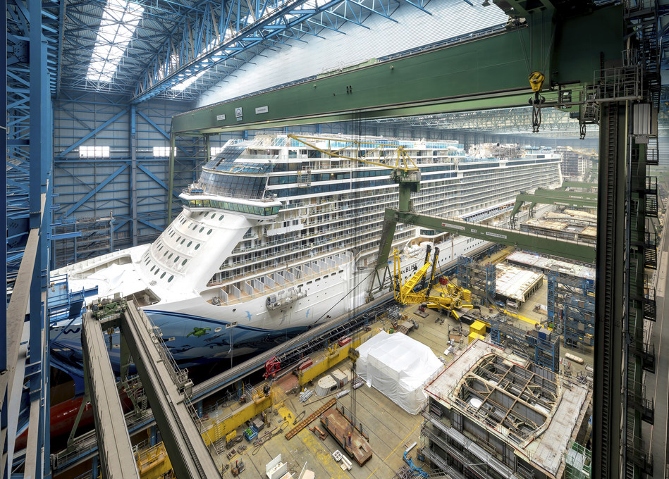 The new cruise ship Norwegian Bliss in the building dock of the MEYER shipyard in Papenburg, Germany (CNW Group/CGI Group Inc.)