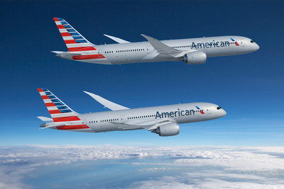 Boeing and American Airlines today announced the world's largest airline will more than double its 787 Dreamliner fleet with a new order for 47 of the super-efficient airplane plus 28 options. This rendering shows the airplanes in the carrier's livery. (Boeing illustration)