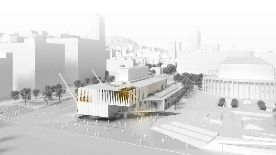 Vue aérienne du nouveau MAC rue Sainte-Catherine. Image : Saucier+Perrotte Architectes / GLCRM & Associés Architectes (Groupe CNW/Musée d'art contemporain de Montréal)