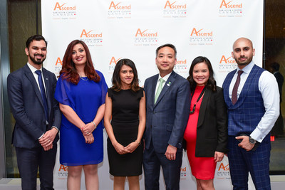 Recipients of the 5th Annual Ascend Canada Leadership Awards  (left to right):  Fahad Tariq, Samra Zafar, Avni Shah, Kelvin Tran (President, Ascend Canada), Tina Lee, and Jahanzaib Ansari.   Photo: Nick Menzies Photography (CNW Group/Ascend Canada)
