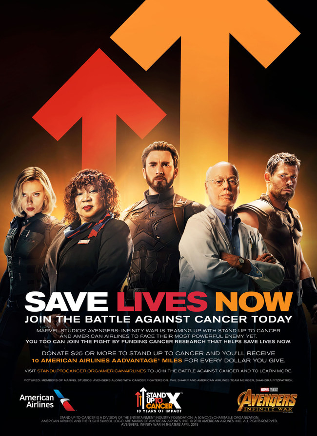 Stand Up To Cancer, American Airlines and Marvel Studios' Avengers: Infinity War announced a powerful collaboration as they team up in the fight against cancer.