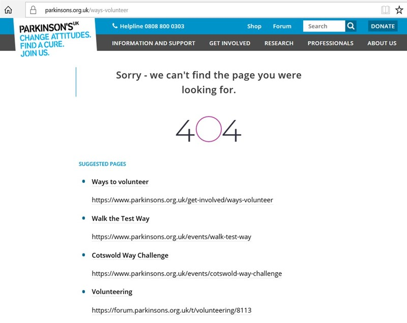Parkinsons UK Intelligent 404 Example