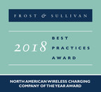 Frost & Sullivan recognizes Energous Corporation with the 2018 North American Company of the Year Award for WattUp®, its potentially market-changing wireless charging solution for mobile devices. (PRNewsfoto/Frost & Sullivan)