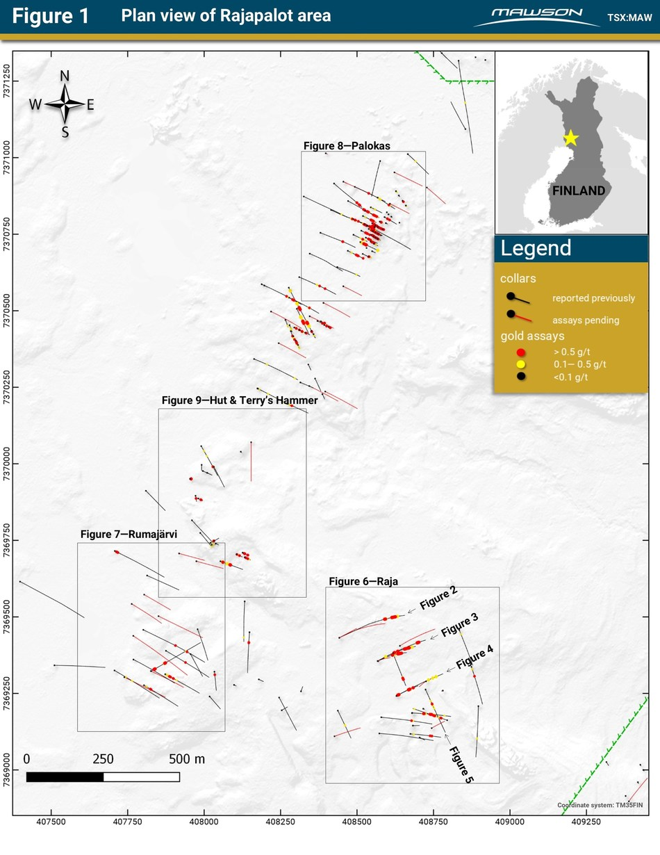 Figure 1 - Plan view of Rajapalot area (CNW Group/Mawson Resources Ltd.)