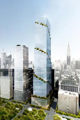 Rendering of Tishman Speyer's The Spiral office tower in Manhattan