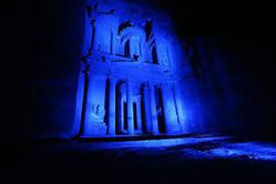Petra Lit in Blue for Autism Awareness in Jordan