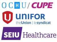 Logo: Ontario Council of Hospital Unions of the Canadian Union of Public Employees (OCHU/CUPE), Unifor, SEIU Healthcare (CNW Group/Canadian Union of Public Employees (CUPE))