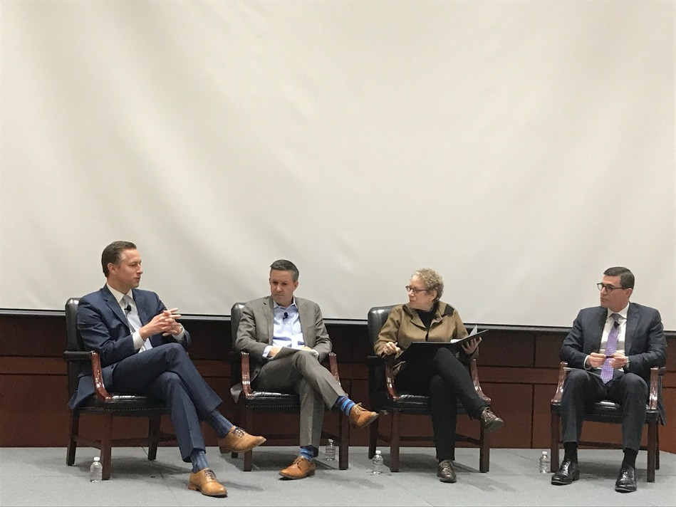 WGU President Scott Pulsipher, Washington Post columnist Jeff Selingo, The Chronicle of Higher Education senior writer Goldie Blumenstyk, and Gallup Higher Education Executive Director Brandon Busteed participate in a panel at Gallup in Washington, D.C.