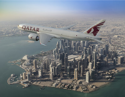 Boeing and Qatar Airways today signed a letter of intent to purchase five 777 Freighters, valued at $1.7 billion at list prices. This rendering shows the airplane in the carrier's livery. (Boeing illustration)