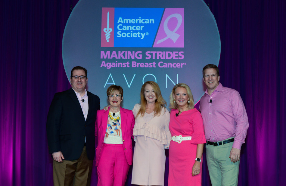 Leaders from Avon and the American Cancer Society announce Avon's sponsorship of Making Strides Against Breast Cancer to Avon Representatives. Pictured (L to R): Howard Byck, VP, Corporate Alliances and Solutions, American Cancer Society, Susan Petre, VP Staff Events and Innovations, American Cancer Society, Sharon Byers, Chief Development and Marketing Officer, American Cancer Society, Betty Palm, President, Social Selling, New Avon LLC and Scott White, Chief Executive Officer, New Avon LLC.