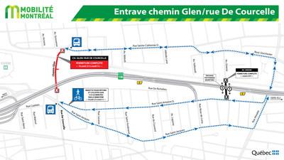 Entrave chemin Glen/rue De Courcelle (Groupe CNW/Ministère des Transports, de la Mobilité durable et de l'Électrification des transports)