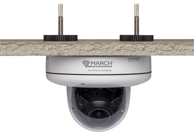 March Networks CA2 Series HD analog cameras offer a tool-free drop ceiling mount. Push through the ceiling and tighten the bolts to install; no screws or tools required! (CNW Group/MARCH NETWORKS CORPORATION)