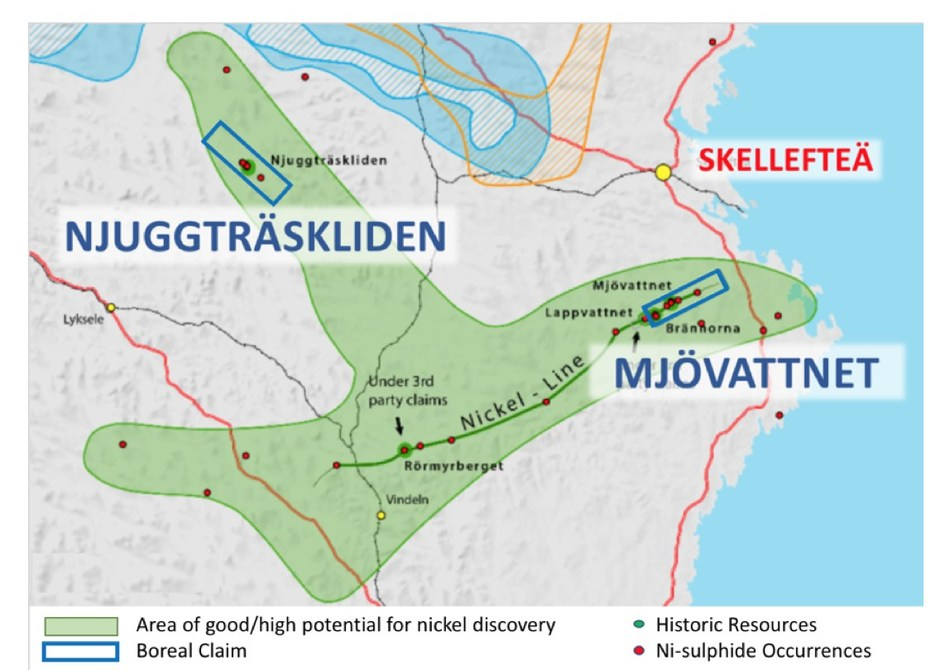 Figure 1 - Location of Njuggträskliden and Mjövattnet (CNW Group/Boreal Metals)