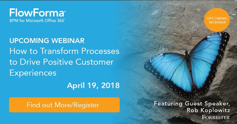 FlowForma to Host Digital Process Transformation Webinar on April 19th - Featuring Rob Koplowitz (PRNewsfoto/FlowForma)