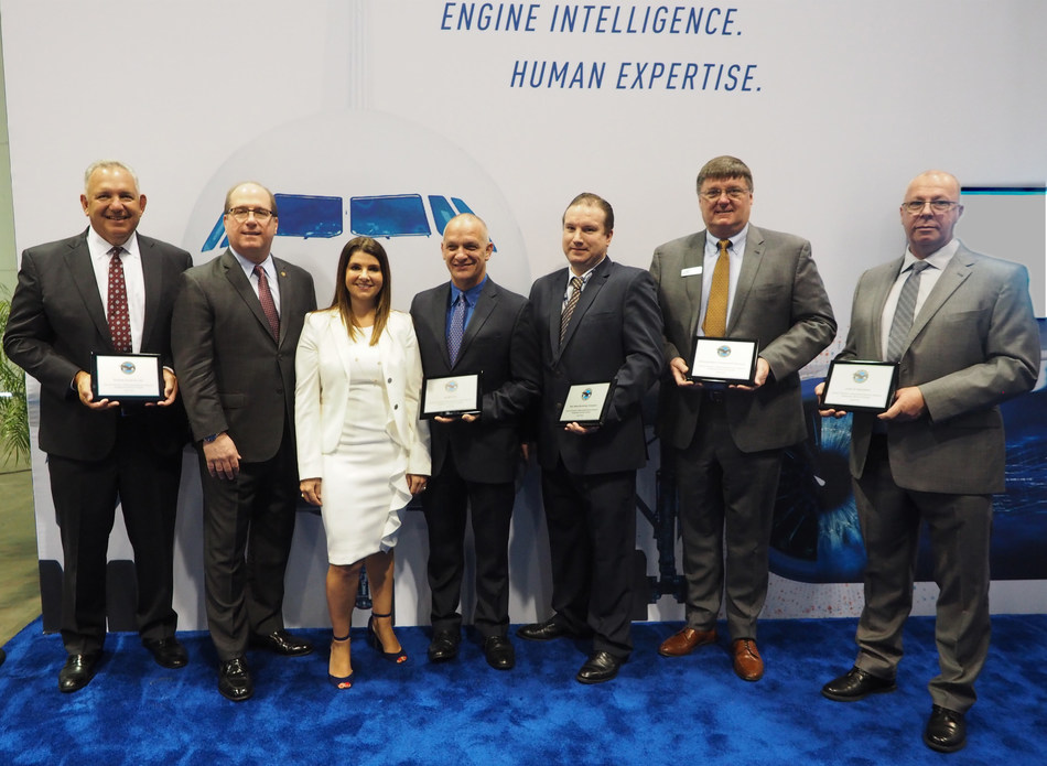 Pratt & Whitney will expand its global network of providers that maintain the GTF engine. Pictured (L-R): Glen Greenberg, president, Turbine Controls; Joe Sylvestro, VP, Aftermarket Operations, Pratt & Whitney; Heather Walton, Sr Dir, Aftermarket Supply Chain, Pratt & Whitney; Michael Polo, president/CEO, ACMT; Kevin Salisbury, manager – global marketing, TWIN MRO; Rick Stine, president, Components, Heli and and Accessories, StandardAero; Derek Hind, aftermarket sales manager, Lewis & Saunders