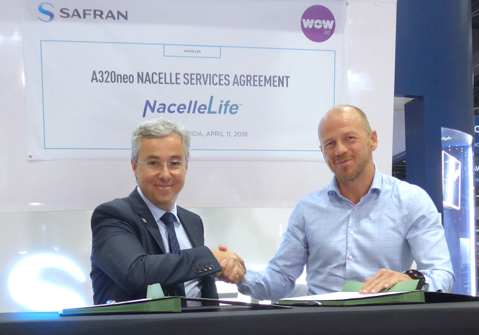 Olivier Savin, Safran Nacelles' Vice President of Customer Support & Services (at left), signs the company's NacelleLife agreement for repair and maintenance support on WOW air's A320neo-series jetliners, joined by Mar Thorarinsson, Technical Director at WOW air. The signing ceremony occurred at the MRO Americas conference in Orlando, Florida. (PRNewsfoto/Safran Nacelles)