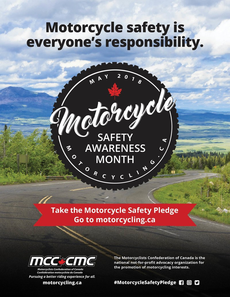 2018 Motorcycle Safety Awareness Month Poster (CNW Group/Motorcyclists Confederation of Canada (MCC))