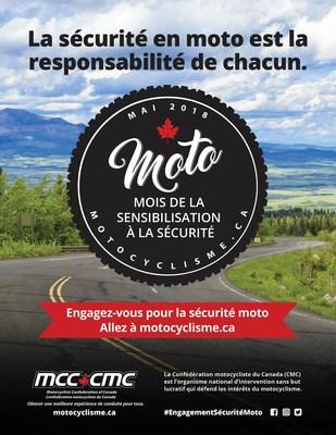 2018 mois de la sensibilisation à la sécurité poster (Groupe CNW/Confédération motocyclistes du Canada (CMC))