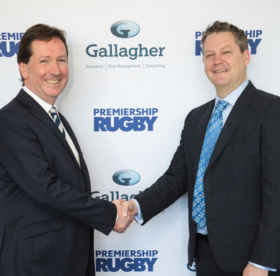 Premiership Rugby's CEO Mark McCafferty (L) and global insurance broker Gallagher's CMO Chris Mead (R) seal multi-year deal for Gallagher to become Premiership Rugby's Title Sponsor for season 2018-2019.  Partnership begins July 1, and the competition will be known as