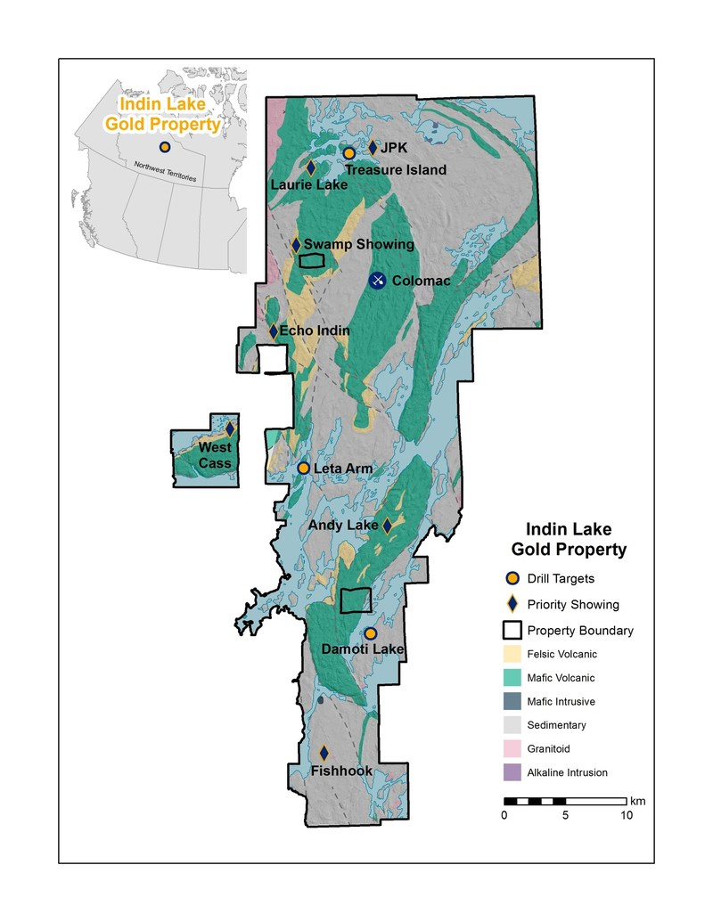 Figure 1.  Indin Lake Gold Property – 2017 Field Program Top Prospects & 2018 Targets (CNW Group/Nighthawk Gold Corp.)
