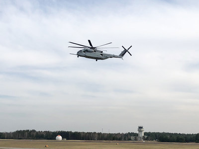 The Sikorsky CH-53K King Stallion makes its first flight on international soil at NATO-ally Germany's Holzdorf Air Base.  Photo: Lockheed Martin